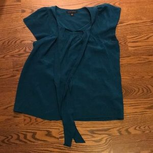 Banana Republic Teal Blue Silk Blouse Cap Sleeve